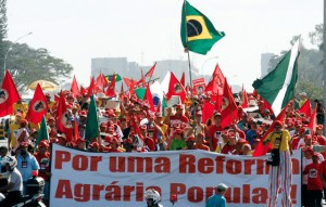 Rural workers, members of MST, march during a protest against President Lula's agricultural policies in Brasilia